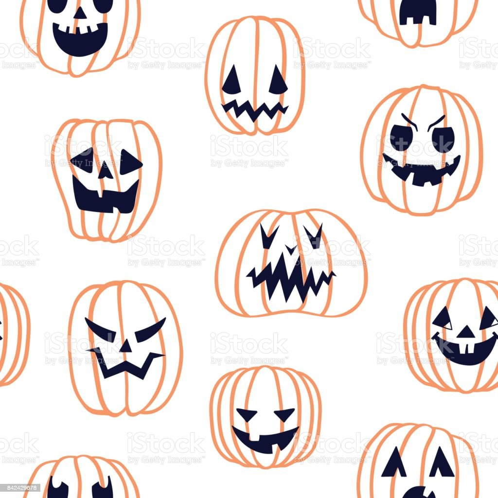 Halloween Scary Pumpkin Pattern 3 Stock Vector Art & More Images of ...