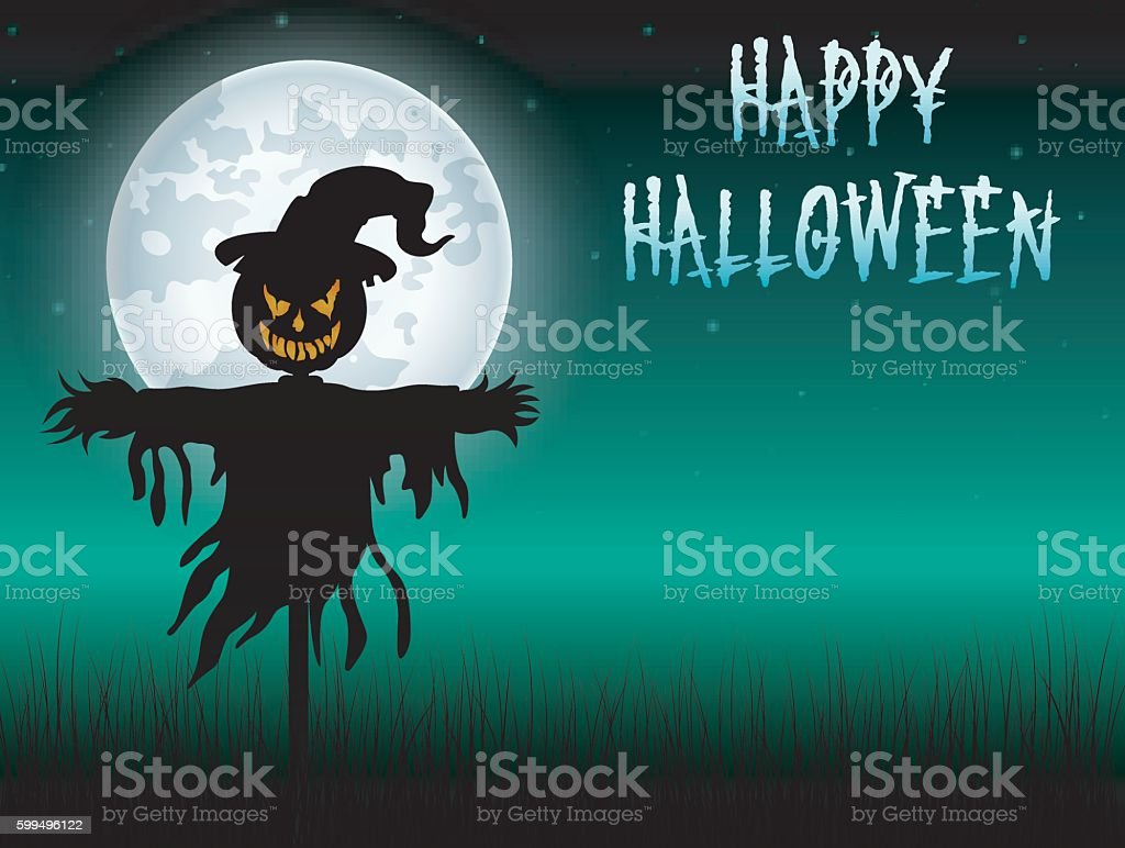 Halloween scary scarecrow at night background vector art illustration