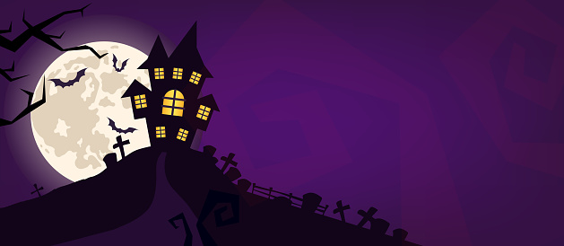Halloween scary vector background. Spooky graveyard and haunted house at night cartoon illustration. Horror moon, bats and graves silhouettes creepy backdrop. Helloween gothic panorama with cemetery