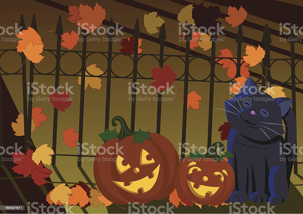 Halloween escena ilustración de halloween escena y más banco de imágenes de aire libre libre de derechos