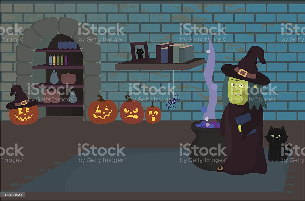 Halloween Scene: Witch in Dungeon royalty-free stock vector art