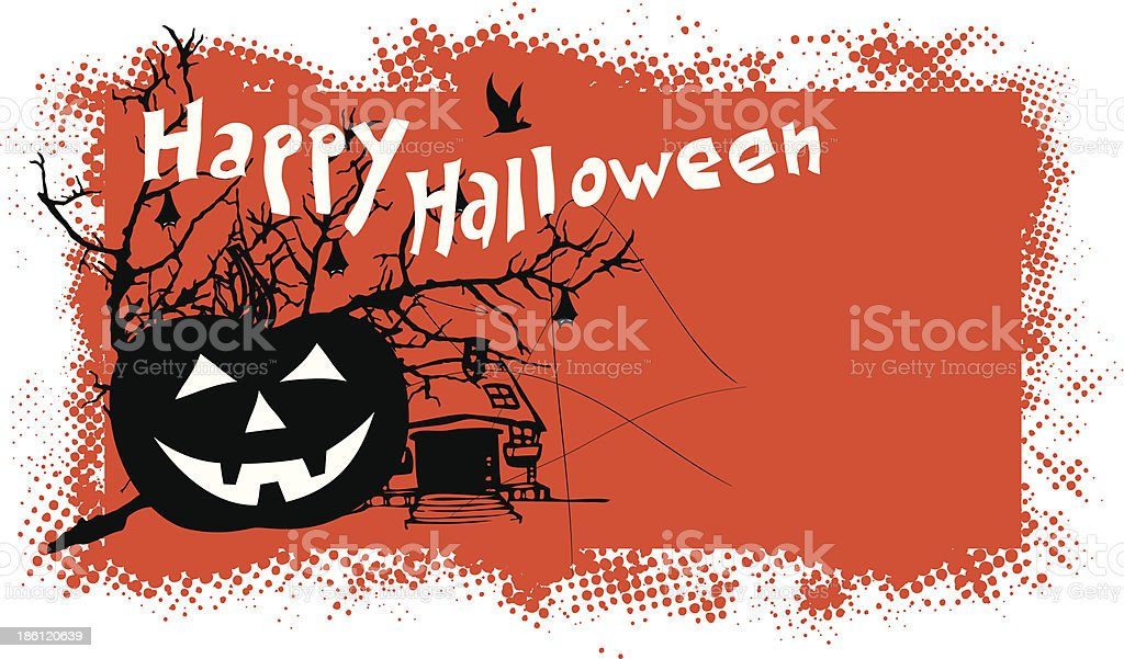 halloween scene with pumpkin and grunge orange background royalty-free stock vector art