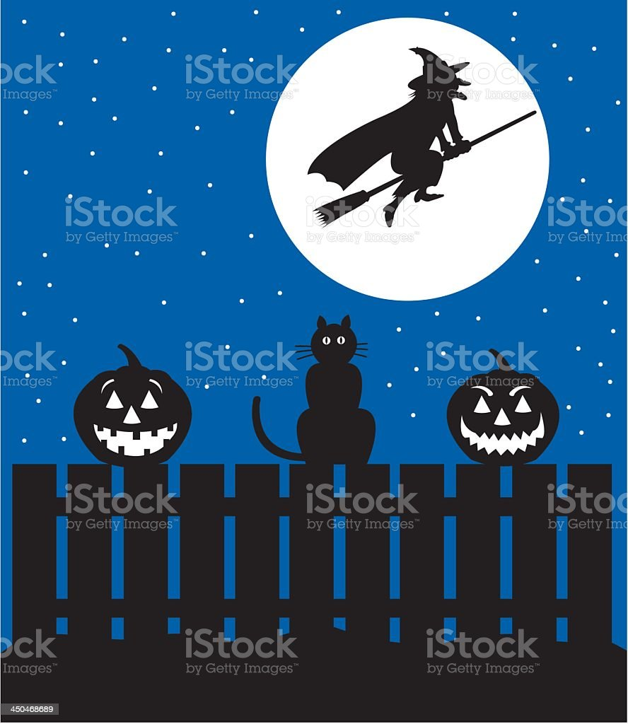 Hallowe'en Scene with Witch and Jack O' Lanterns royalty-free stock vector art