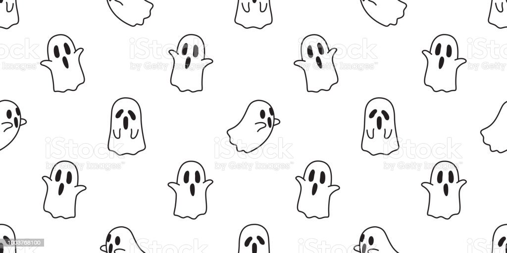 Vetores De Halloween Fantasma Sem Costura Padrao Vector Assustador