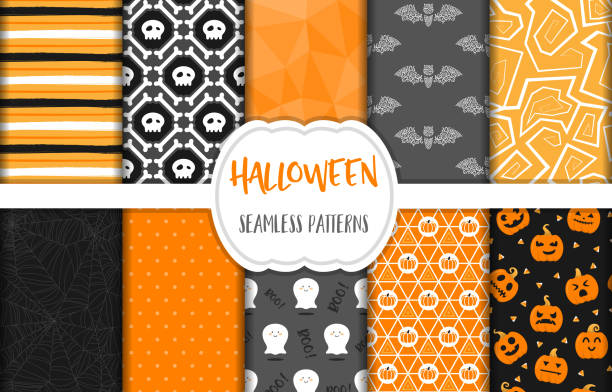 cadılar bayramı dikişsiz desen arka plan vektör ayarla - halloween background stock illustrations