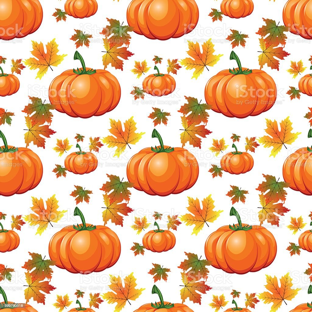 Halloween Seamless Pattern Background With Pumpkin Stock ...