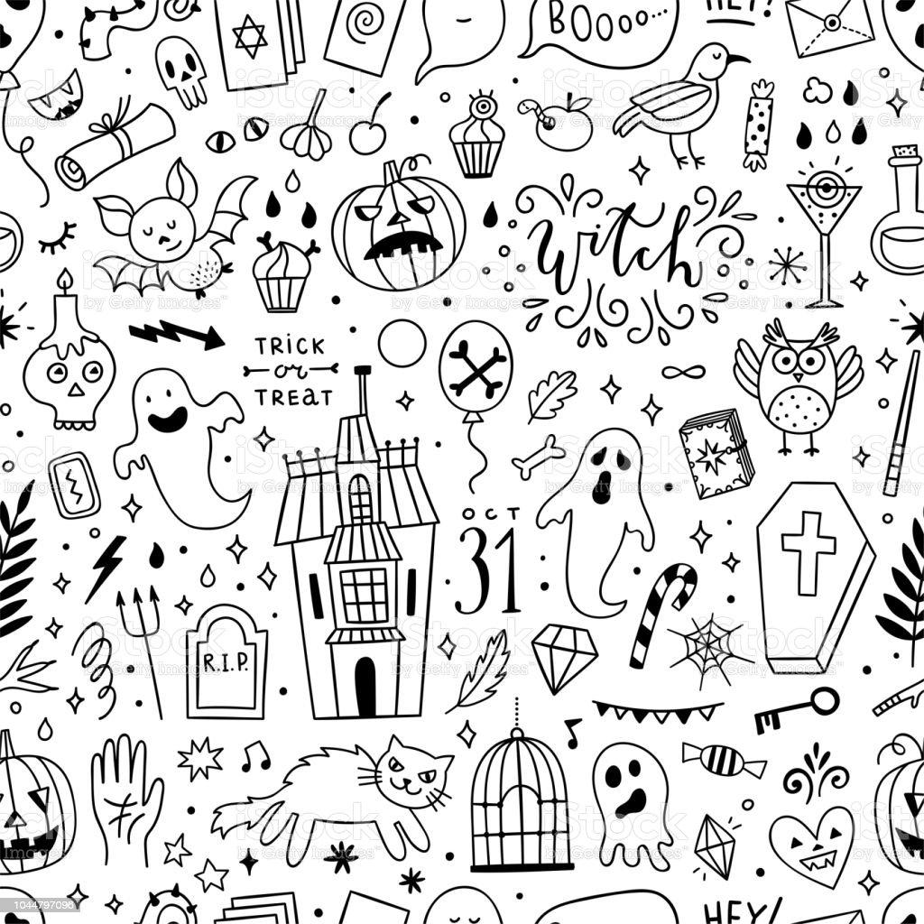 Ilustración de Diseño De Patrones Sin Fisuras De Halloween Fondo Con ...