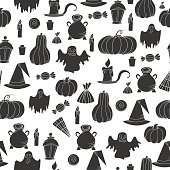 Halloween seamless pattern. Design elements for party poster. Vector illustration