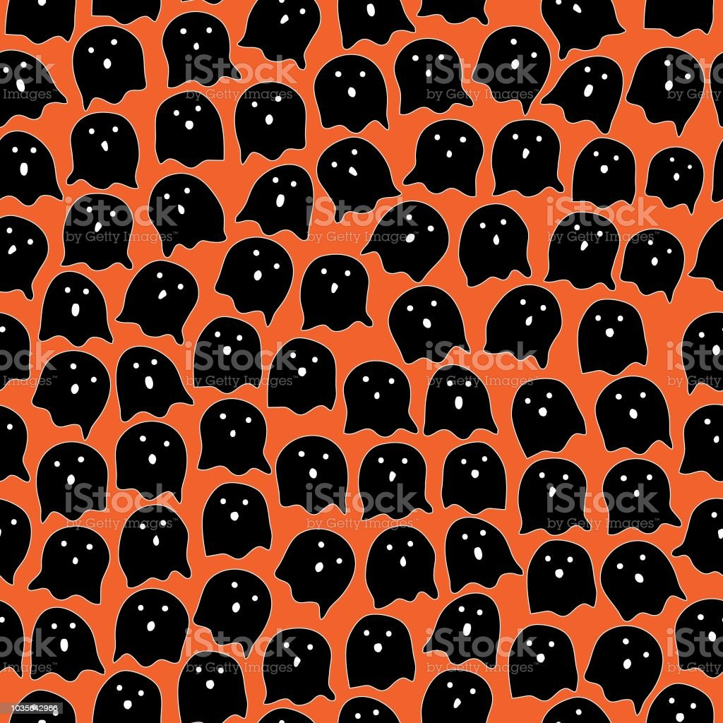 c2a70b29df0 Halloween seamless pattern ghost cartoon style random repeat - Illustration  .