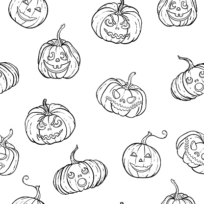 Halloween seamless pattern of black and white pumpkins with carving scary smiling cute glowing faces. design for holiday greeting card and invitation, flyers, posters, banner halloween party holiday