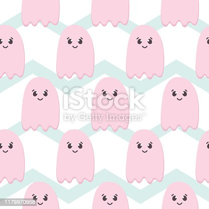 istock Halloween Seamless Pattern of Flying Ghosts. Cute Nursery room wallpaper, kids card. Pastel colors scared Cartoon character isolated on zig zag backdrop. Printable flat style 1179970958