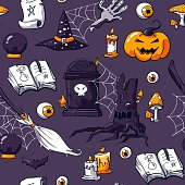 Vector hand drawn objects: zombie hand,  candles, raven, potion, eyeball, scroll, crystal ball, tombstone and scary tree. Halloween lettering.