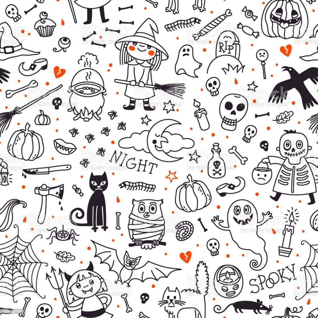 Patrón Sin Costuras De Halloween Calabaza Espíritus Y Gatos Cráneo Y ...