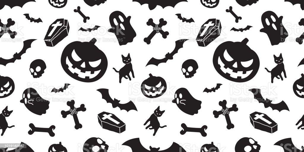 Ilustración de Fantasma De Halloween Sin Fisuras Patrón Vectorial ...