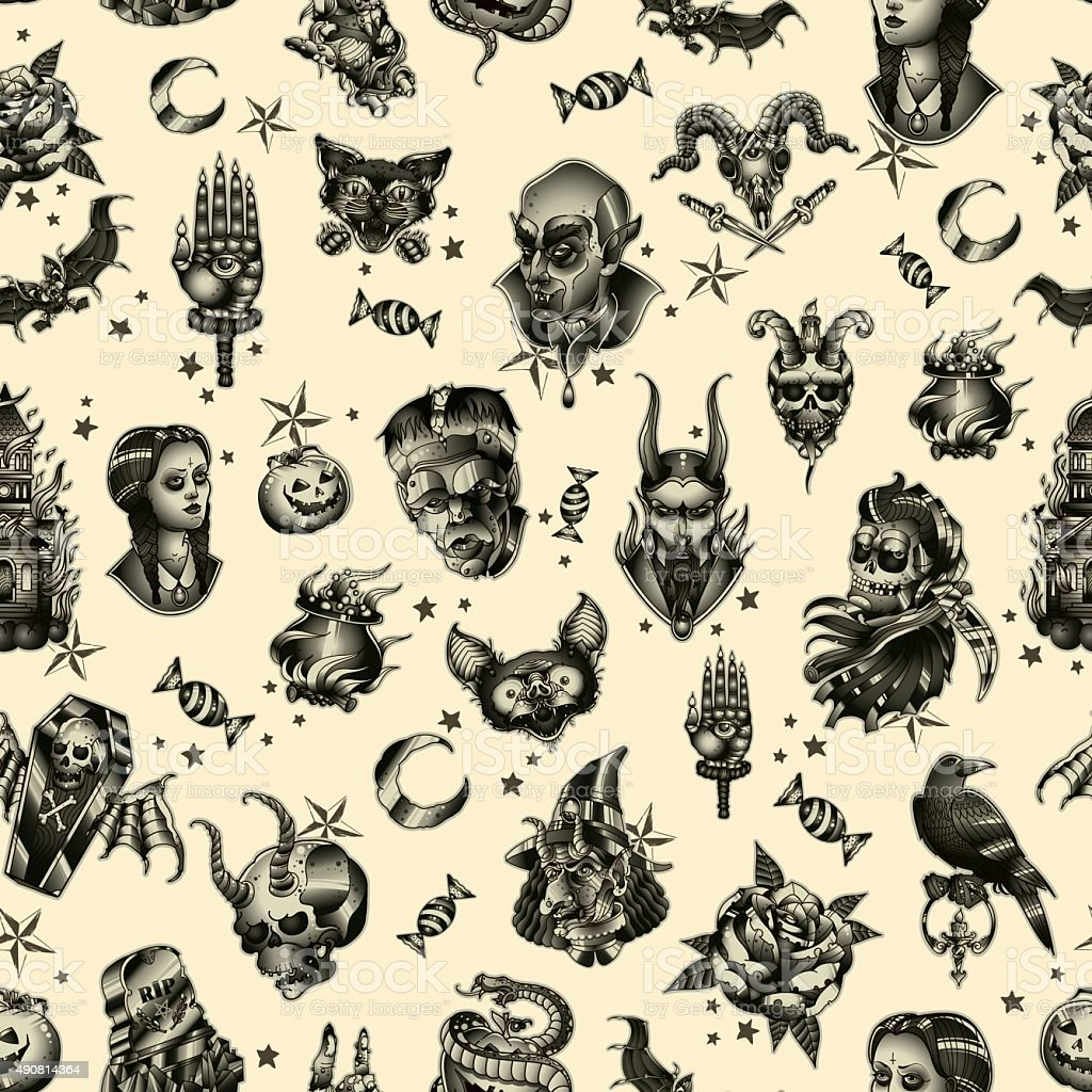 Halloween seamless pattern vector art illustration