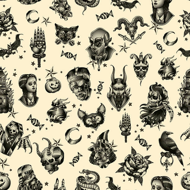 halloween seamless pattern - snakes tattoos stock illustrations, clip art, cartoons, & icons