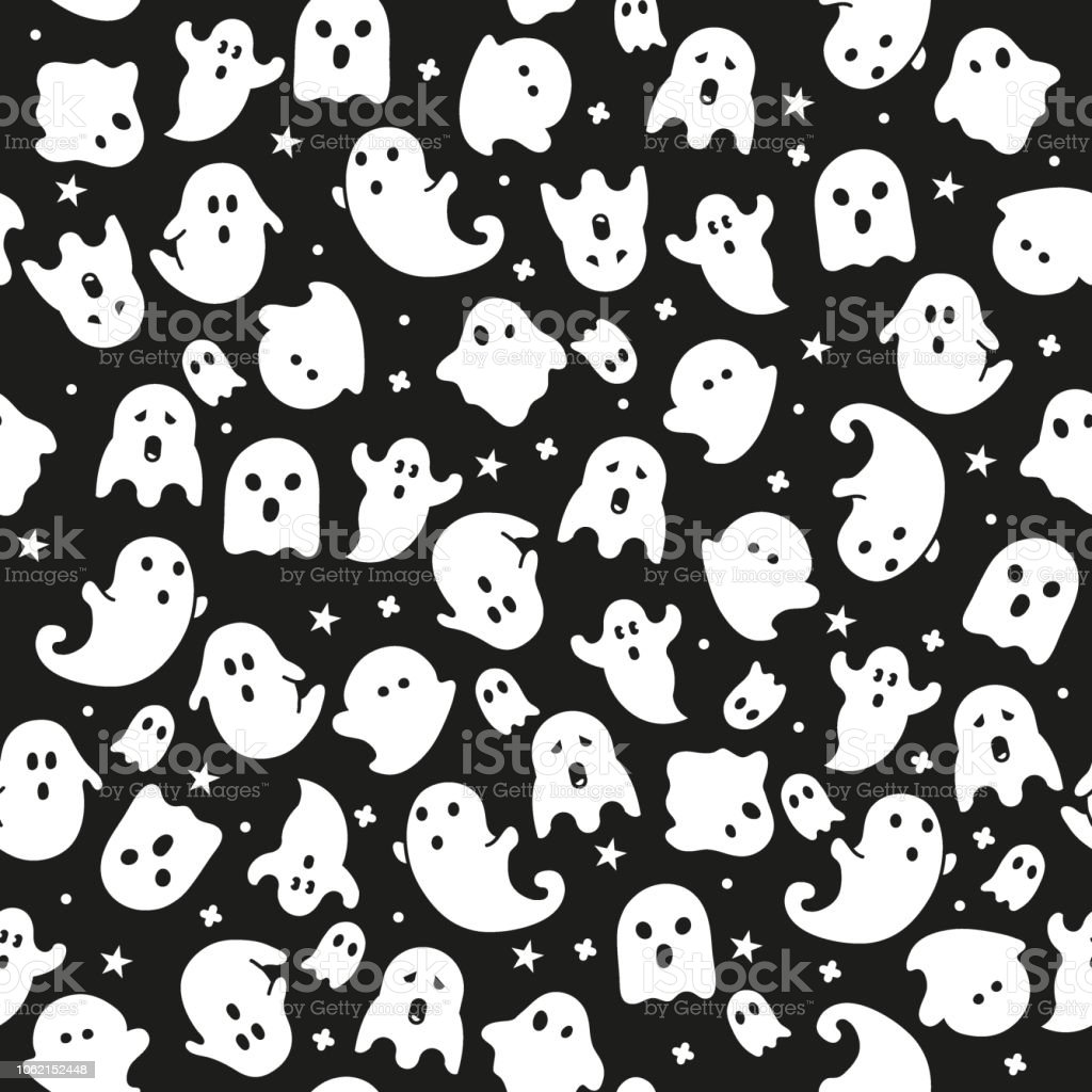 Halloween Seamless Pattern Wallpaper Backgroundghost Icons Stock Illustration Download Image Now Istock