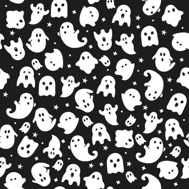 ilustrações, clipart, desenhos animados e ícones de ícones de background.ghost papel de parede padrão sem emenda halloween. - espectro