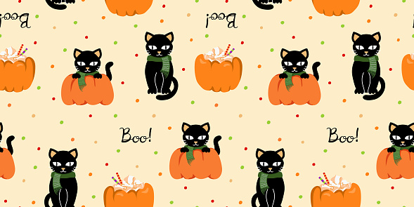 Halloween seamless pattern with black cats and pumpkin latte.