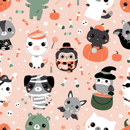 Halloween seamless pattern with cute kawaii animals in different costumes. Cartoon characters. Childish vector illustration for print on fabrics, posters, greeting cards and wallpaper for nursery.