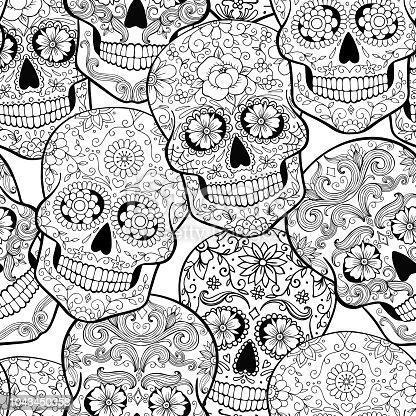 🔥 Imagen de Patrón sin fisuras de Halloween con calaveras de azúcar ...