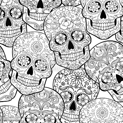 Halloween Seamless Pattern With Sugar Skulls Coloring Page
