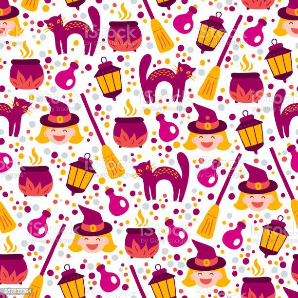 Halloween seamless pattern with witch cat confetti broom pot potion vector id857832364?b=1&k=6&m=857832364&s=612x612&h=0j60gb8k7lhuv 9dkvjbnqwerrosdh4 6d58v uhzyw=