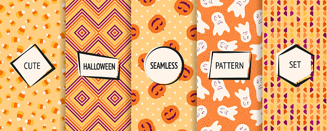 Halloween seamless patterns collection. Vector set of funny background textures