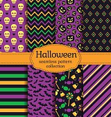 Happy Halloween! Set of seamless backgrounds with bats, pumpkins, skulls, candies and abstract geometric patterns. Vector collection in black, yellow, orange, green and purple colors.