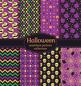Happy Halloween! Set of seamless backgrounds with bats, pumpkins, skulls, spiders, web, ghosts and abstract geometric patterns. Vector collection in black, yellow, orange, green and purple colors.