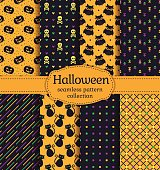 Happy Halloween! Set of seamless backgrounds with pumpkins, skulls, gloomy owls, cats and abstract geometric patterns. Vector collection in black, orange, green, yellow and purple colors.
