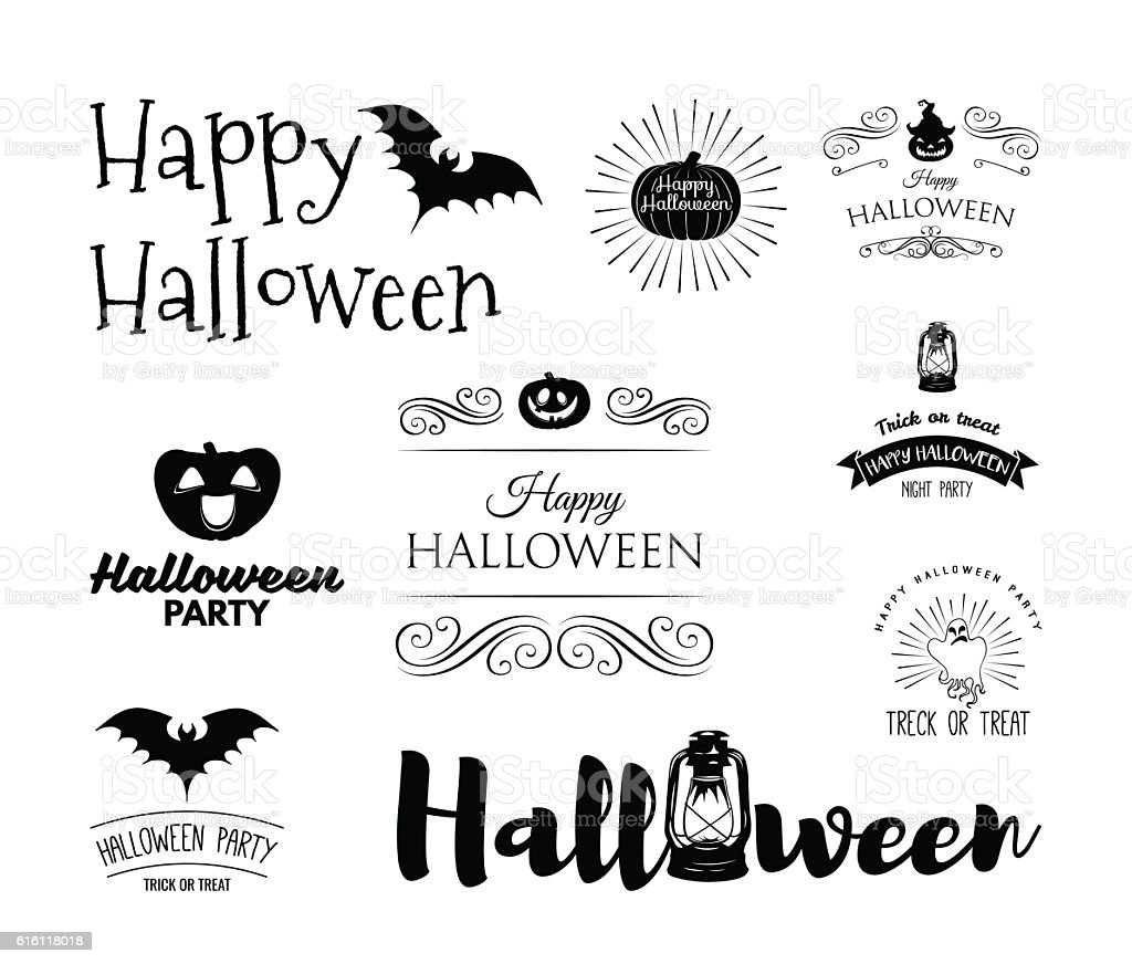 Halloween Set Drawn Halloween Symbols Pumpkin Broom Bat Spider Webs