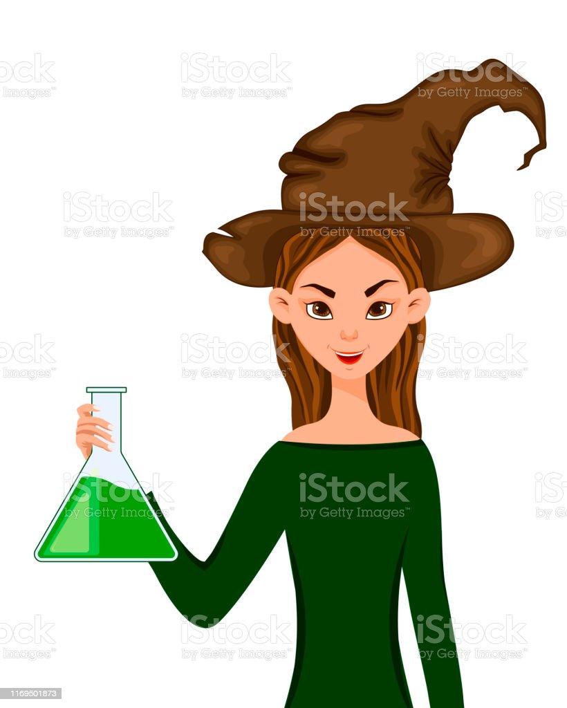 女性キャラクターのハロウィーンセット帽子をかぶった少女は 手