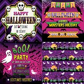 Halloween Set of frame, ribbons, invitation and seamless patterns