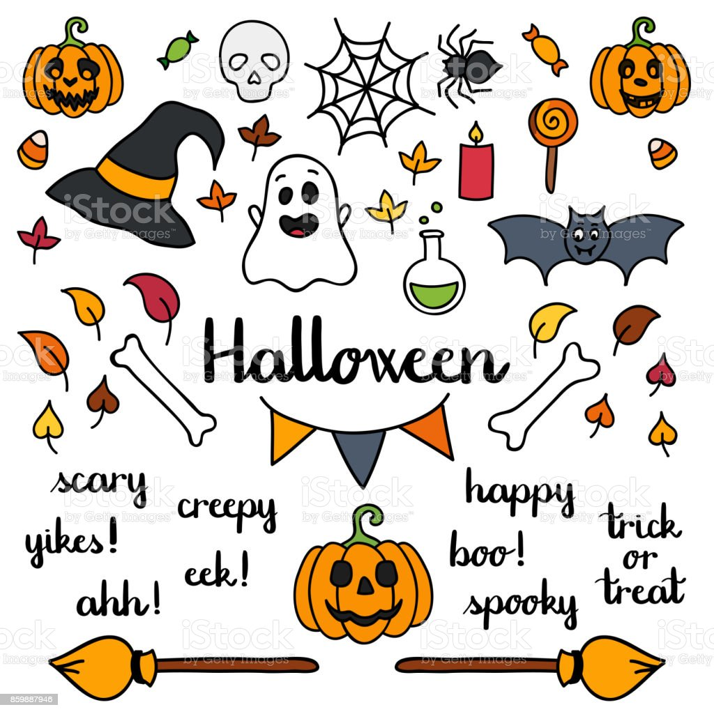 Halloween Set Of Things And Words Isolated Doodle Stock Illustration Download Image Now Istock