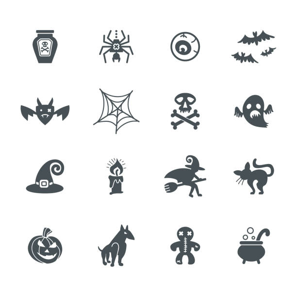 Halloween. Set of vector icons on a theme of a Happy Halloween. Halloween. Set of vector icons on a theme of a Happy Halloween. Flat graphic design. lead poisoning stock illustrations