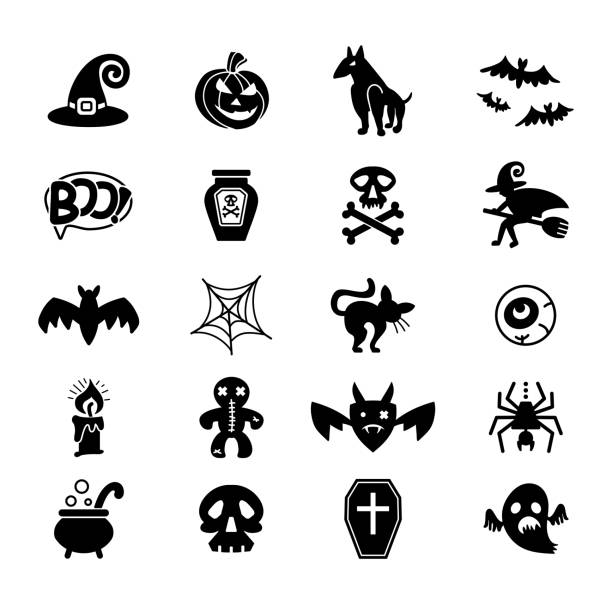 Halloween. Set of vector icons on a theme of a Happy Halloween. Set of vector icons on a theme of a Happy Halloween. Twenty holiday symbols. Flat graphic design. lead poisoning stock illustrations