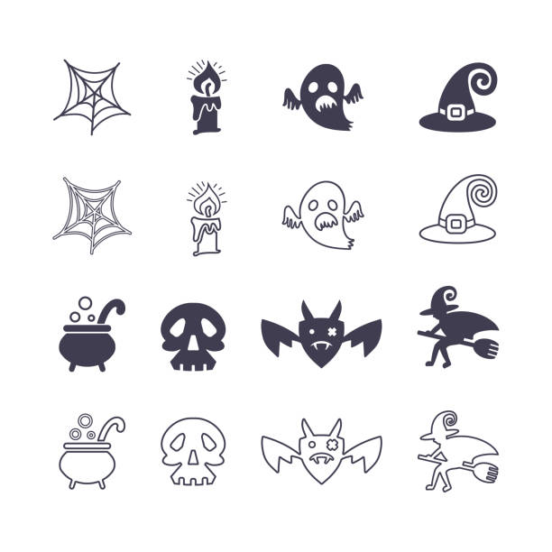 Halloween. Set of vector icons silhouette and line art. Halloween. Set of vector icons silhouette and line art on a theme of a holiday of Halloween. Flat graphic design. lead poisoning stock illustrations