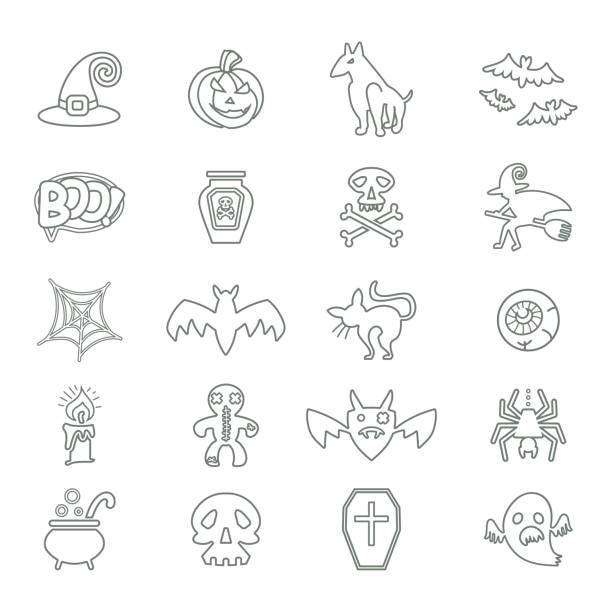 Halloween. Set of vector line icons on a theme of a Happy Halloween. Halloween. Set of vector line icons on a theme of a Happy Halloween. Twenty holiday symbols. Flat graphic design. lead poisoning stock illustrations