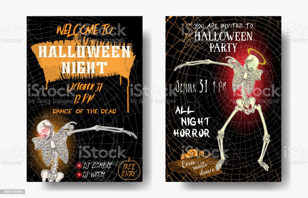 Halloween set of vertical background with skeletons dancing DAB. Flyer or invitation template for Halloween party and night. Handwritten calligraphy greetings, dance of the dead all night. Vector. vector art illustration