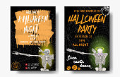 Halloween set of vertical background with skeletons dancing DAB. Flyer or invitation template for Halloween party and night. Handwritten calligraphy greetings, dance of the dead all night. Vector.