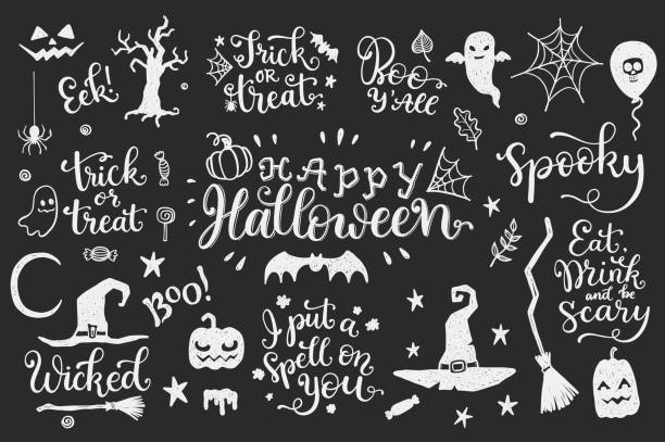Halloween set on a blackboard Happy halloween vector set with calligraphic phrases and doodles on a blackboard candy drawings stock illustrations