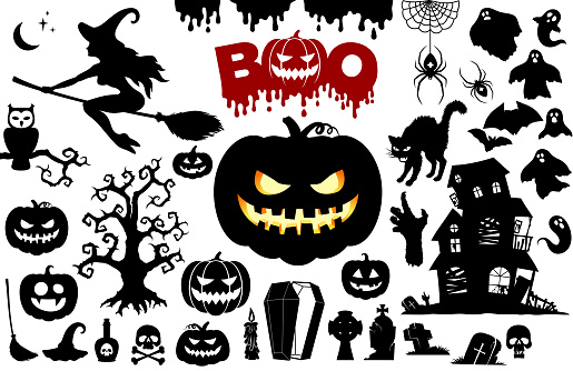 Halloween set, silhouettes isolated on white. Pumpkins, Boo, ghosts, witch, skulls, haunted house, bats, spiders, cat, zombies, graves, coffin, owl, blood, oak, etc. Icons for Halloween,