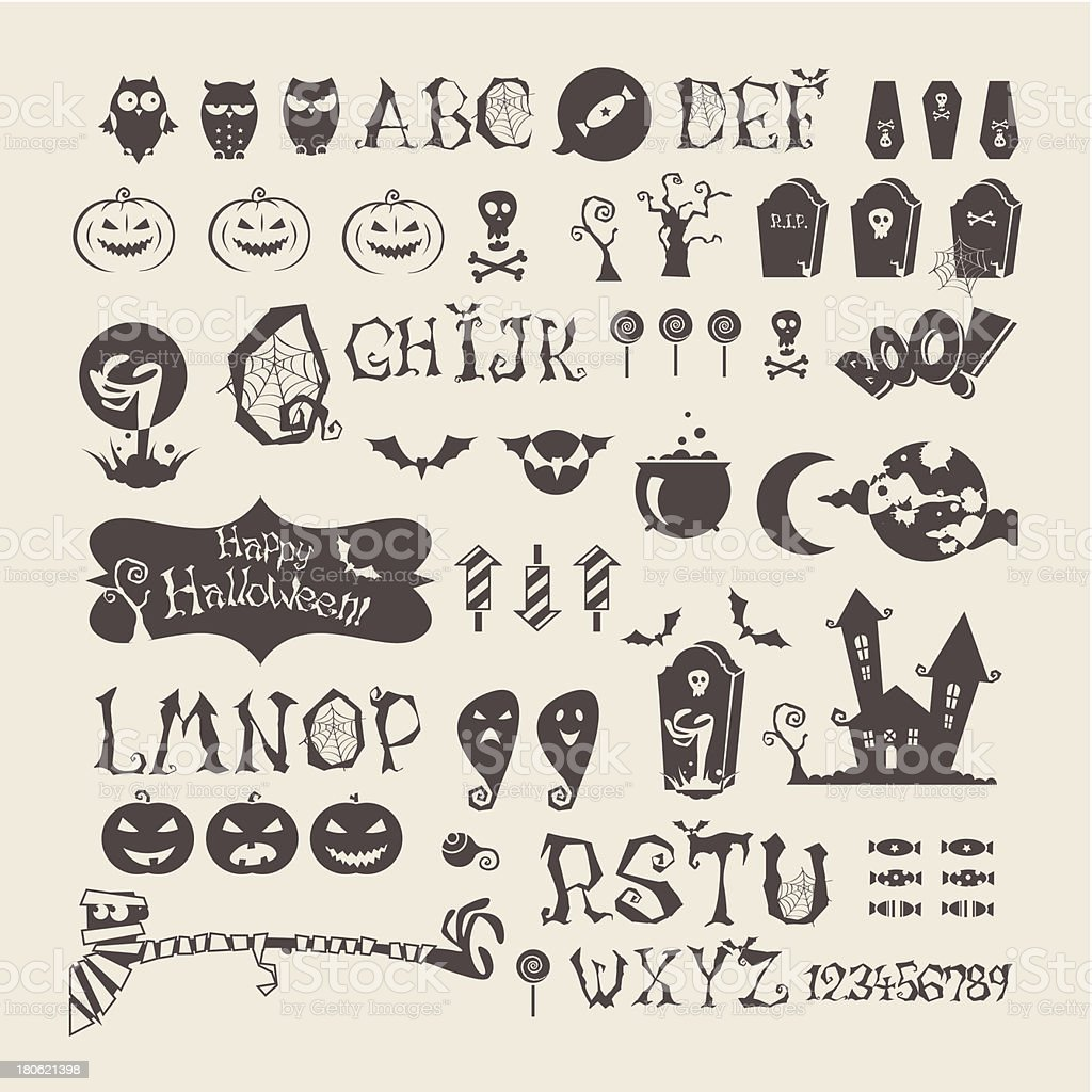 Halloween set royalty-free halloween set stock vector art & more images of alphabet