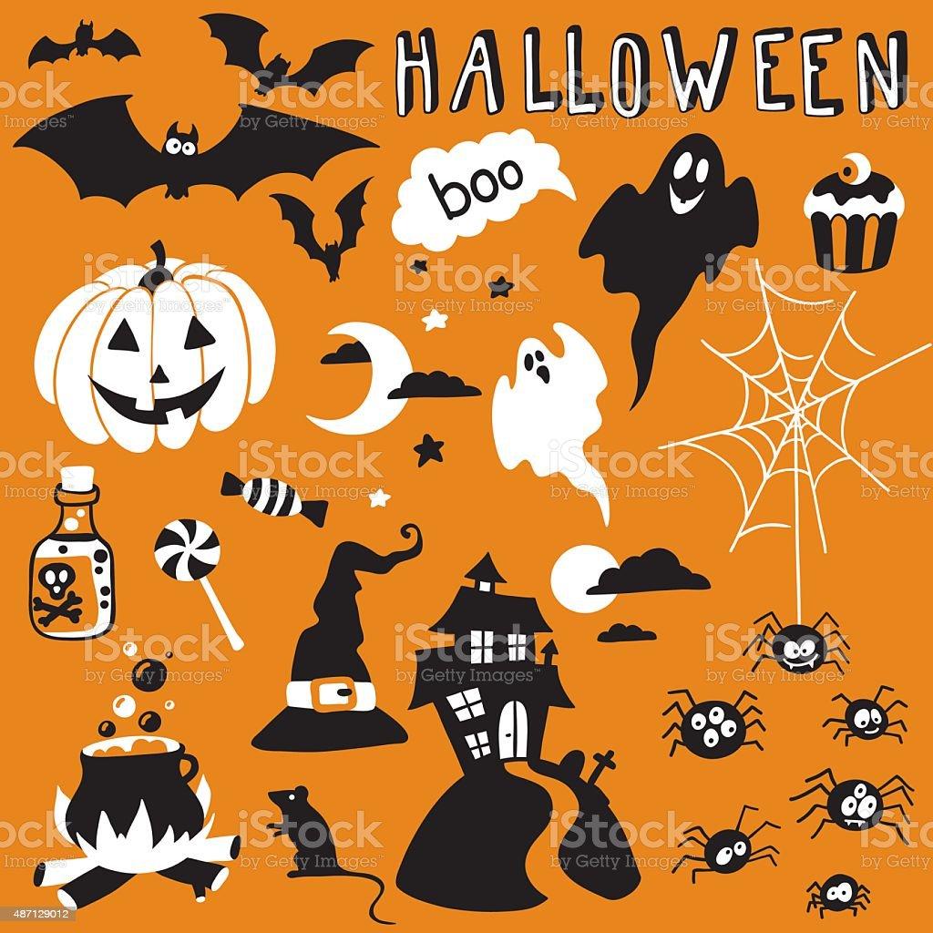 halloween set vector art illustration