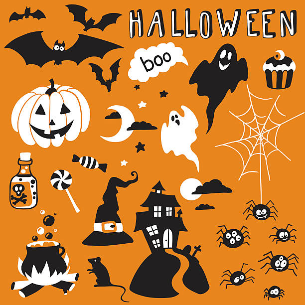 halloween set hand-drawn halloween set ghost icon stock illustrations