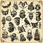 Set of spooky halloween characters \ Eps10 \ gradient