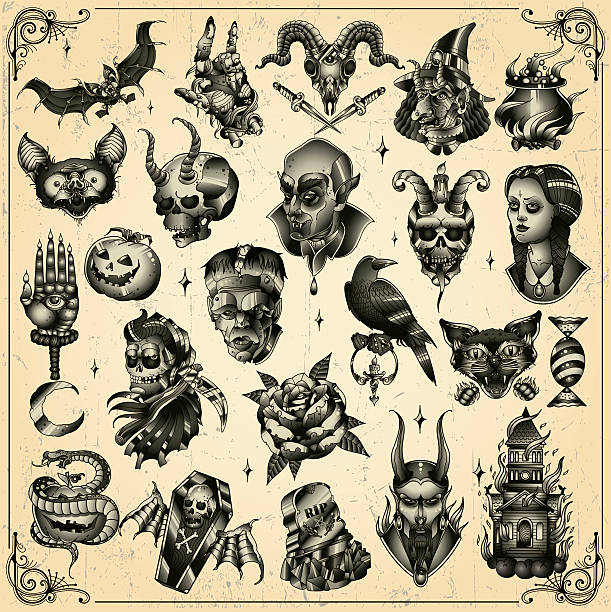 halloween-set - vogel tattoos stock-grafiken, -clipart, -cartoons und -symbole