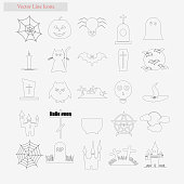 Halloween Set vector style line icons on white