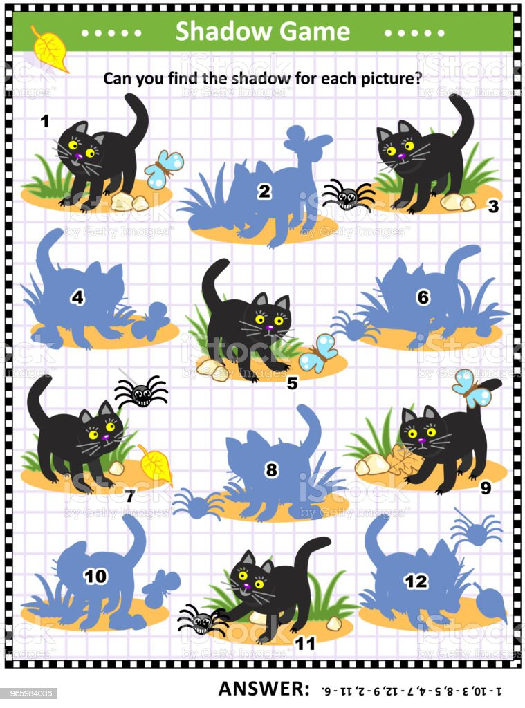 Halloween shadow game with black cat - Royalty-free Activity stock vector